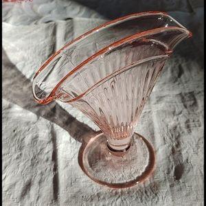 SALE Vintage Depression Glass Fan Vase Blush Pink